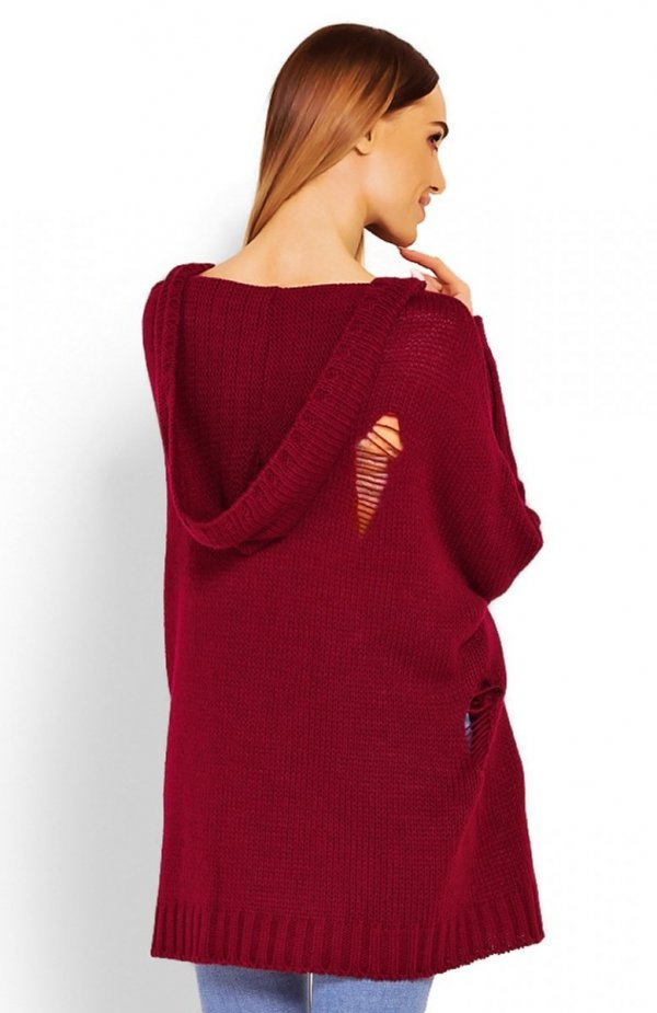 PeekaBoo 30055 sweter bordowy tył