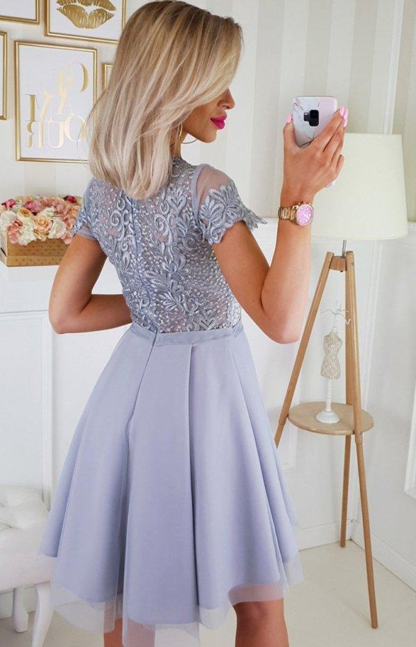 Bicotone 2180-03 sukienka rozkloszowana szara tył