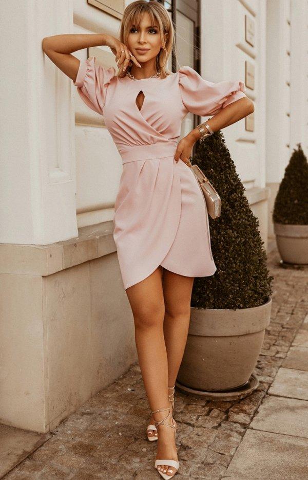 Bicotone sukienka wizytowa z bufkami 2221-12-1