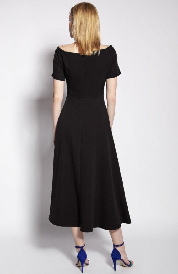 Sukienka trapezowa midi czarna SUK181 tył