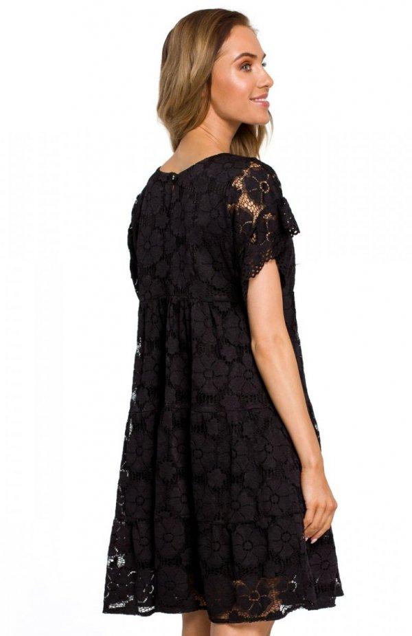 Moe M430 sukienka koronkowa czarna tył