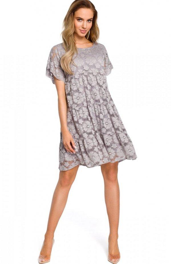 Moe M430 sukienka koronkowa szara