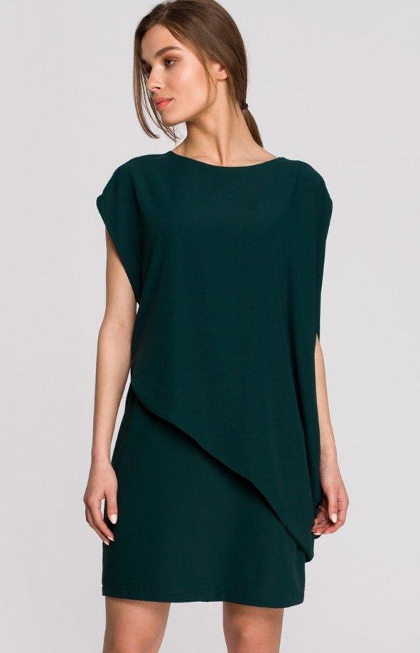 Elegancka sukienka mini warstwowa zielona S262
