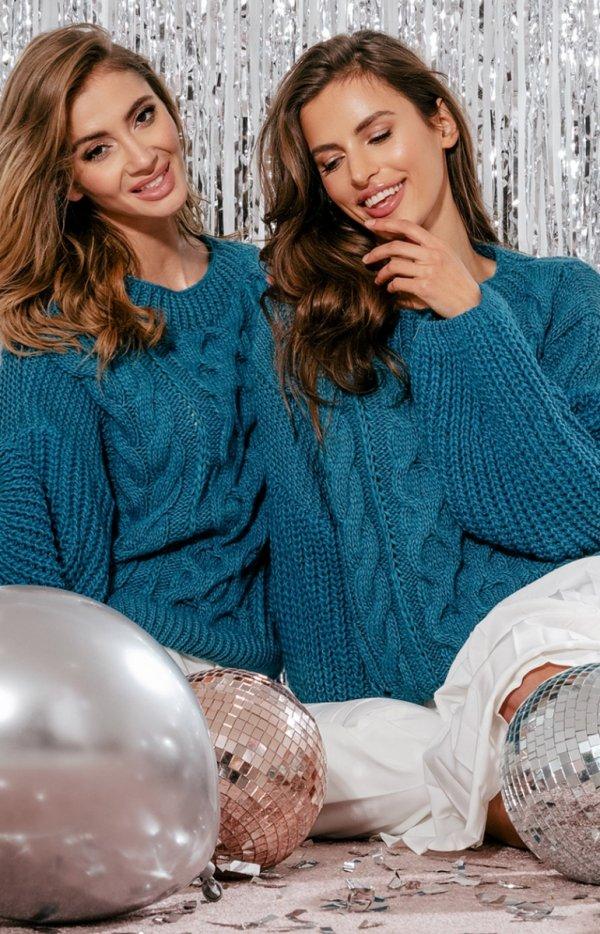 Niebieski oversizowy sweter Fobya F866-1