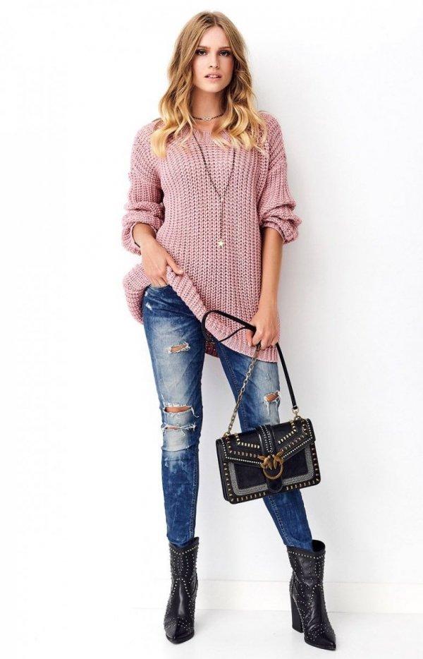 Oversizowy sweter brudny róż S74-3