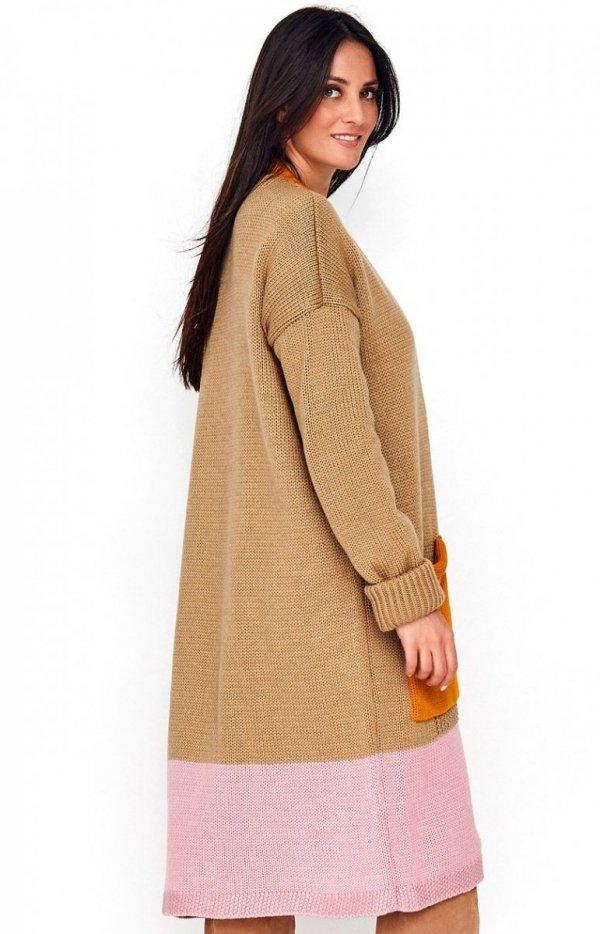 Długi trójkolorowy sweter kardigan S70 tył