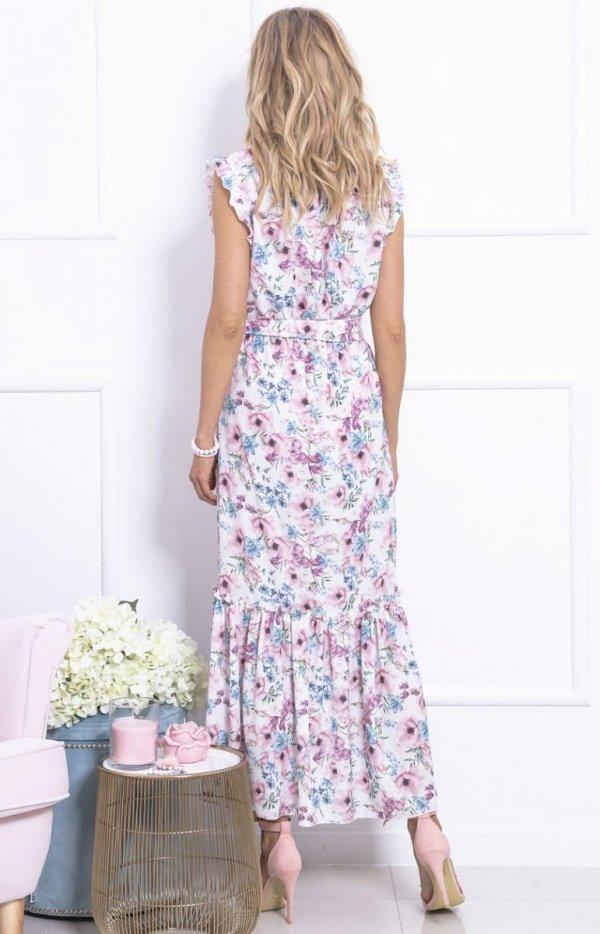 Długa sukienka w kwiaty F728 tył