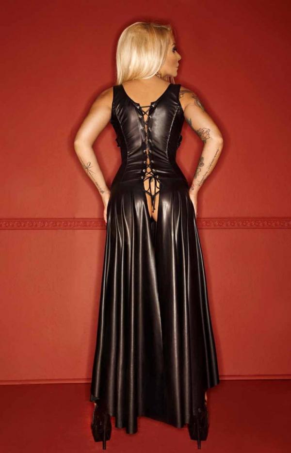 Długa skórzana sukienka typu wetlook F069  tył