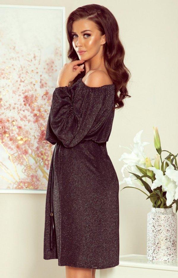 Sweterkowa sukienka z połyskiem 270-2 czarna Numocco tył