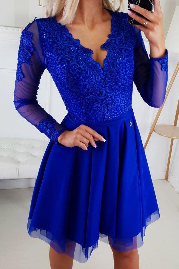 Bicotone 2160-05 sukienka rozkloszowana chabrowa-1