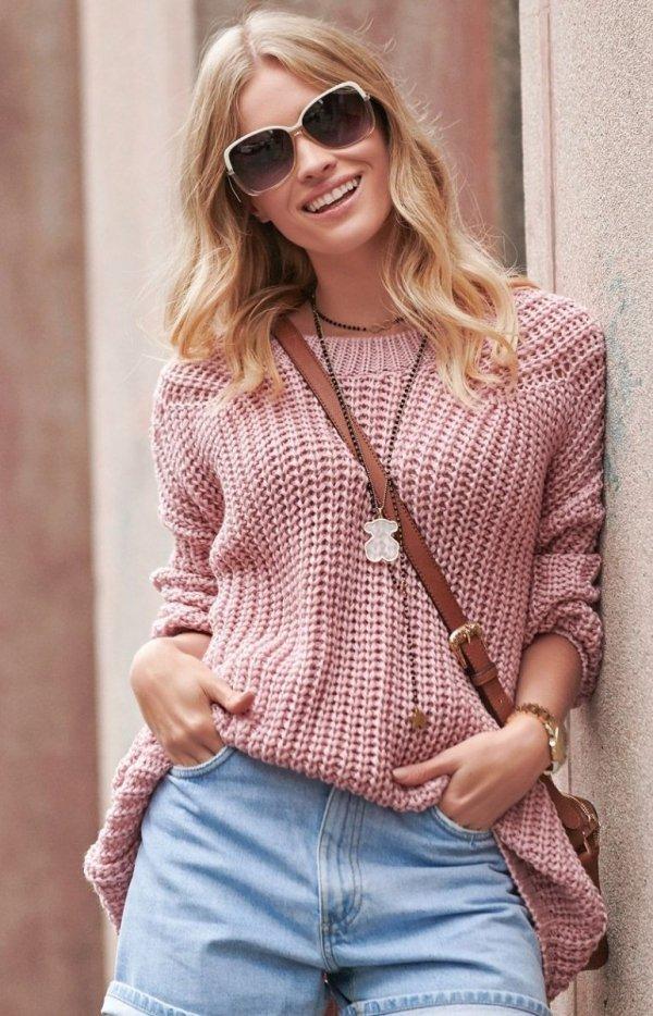 Oversizowy sweter brudny róż S74-2
