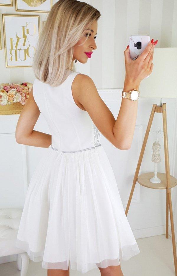 Bicotone sukienka z koronką biało-szara 2179-31 tył
