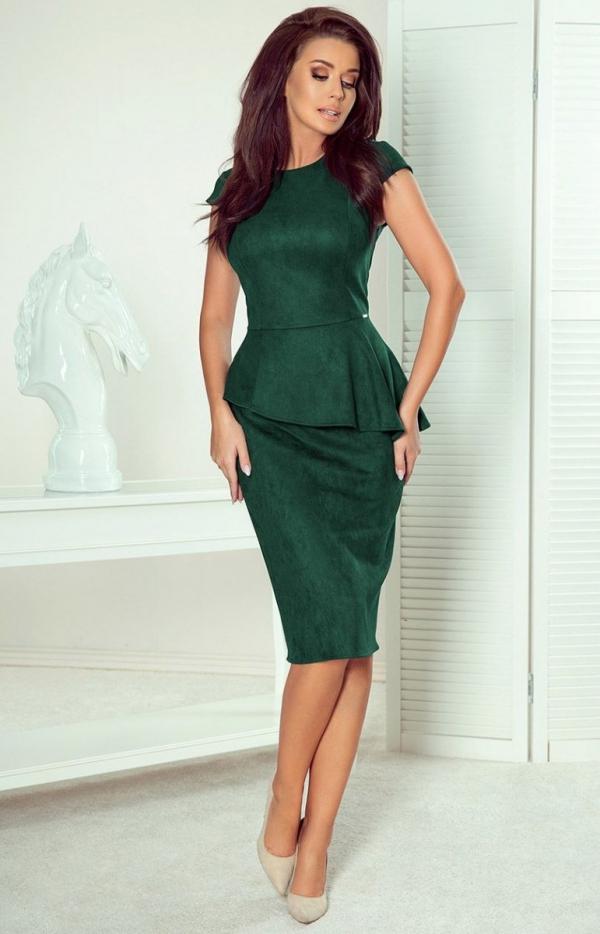 Ołówkowa sukiena z baskinką Numoco 192-10 butelkowa-1