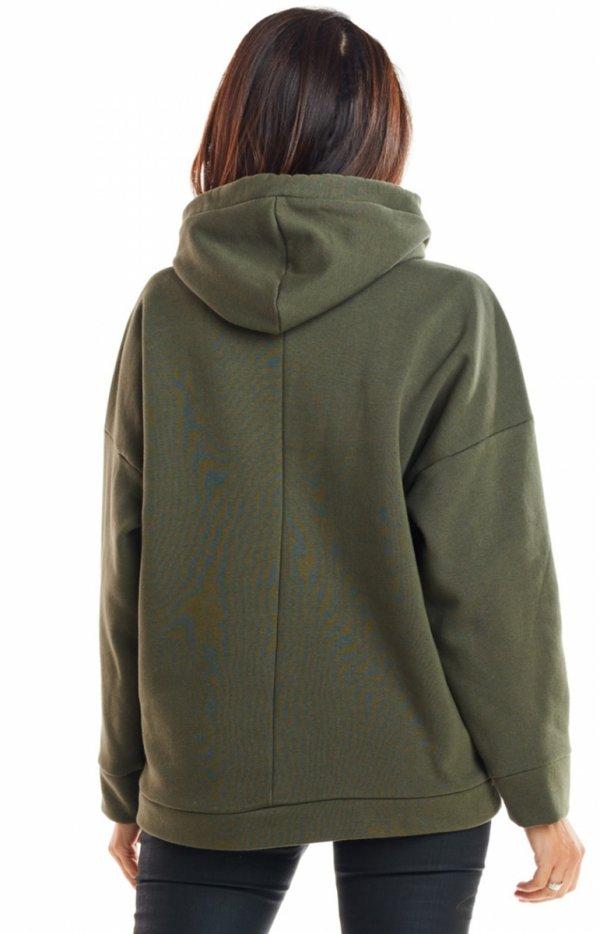 Bawełniana bluza z kapturem khaki M223 tył
