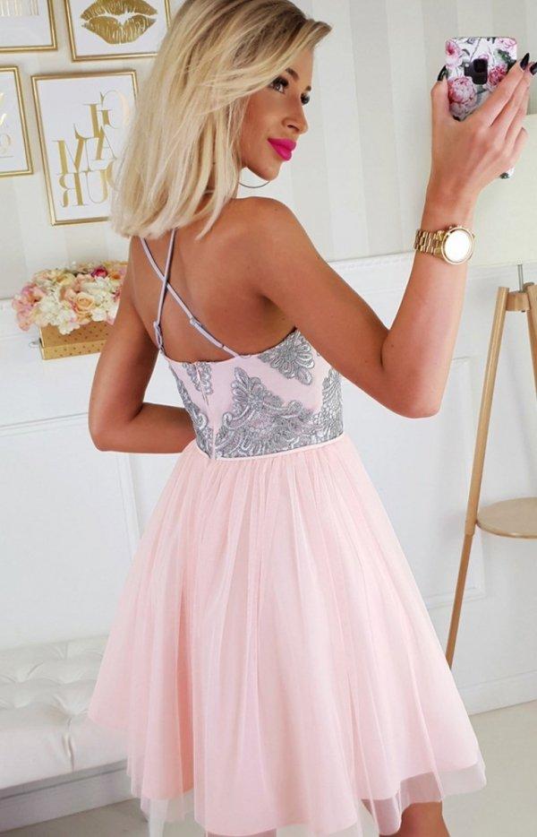 Koronkowa sukienka z tiulowym dołem 2186-33 tył