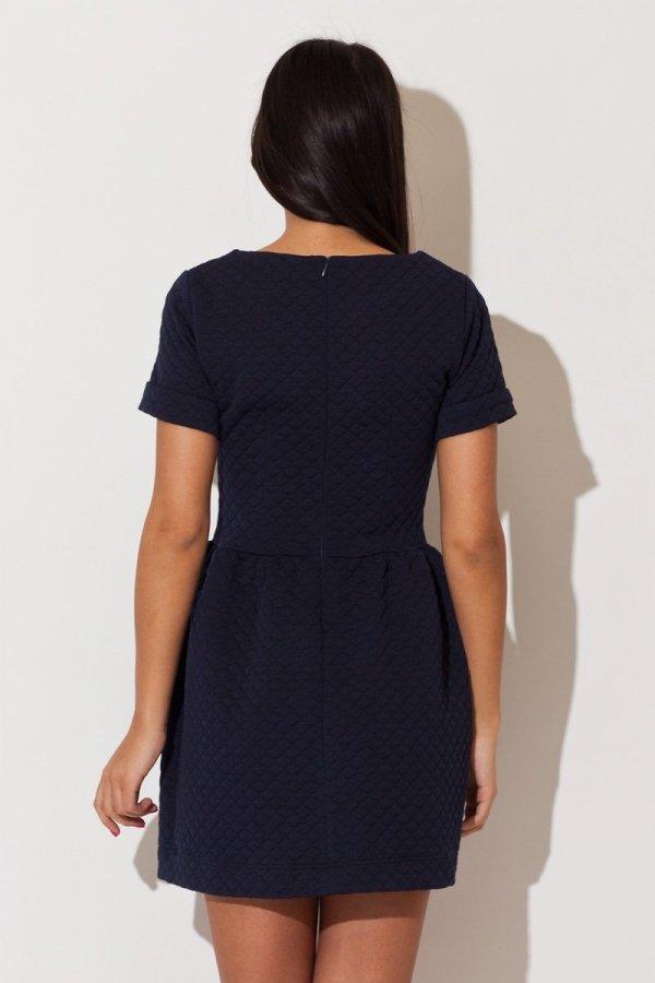 Katrus K147 sukienka niebieska pikowana