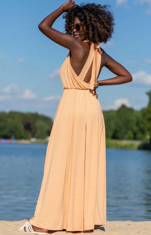 Efektowna sukienka maxi piaskowa F1251 tył