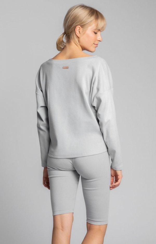 Krótkie legginsy damskie szare LA036 tył