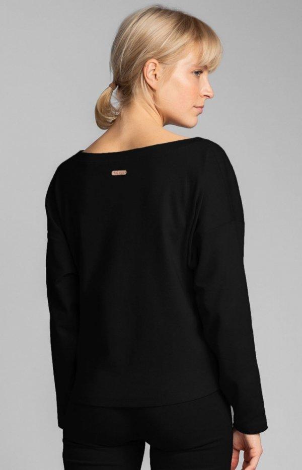 Bawełniana bluza damska czarna LA037 tył