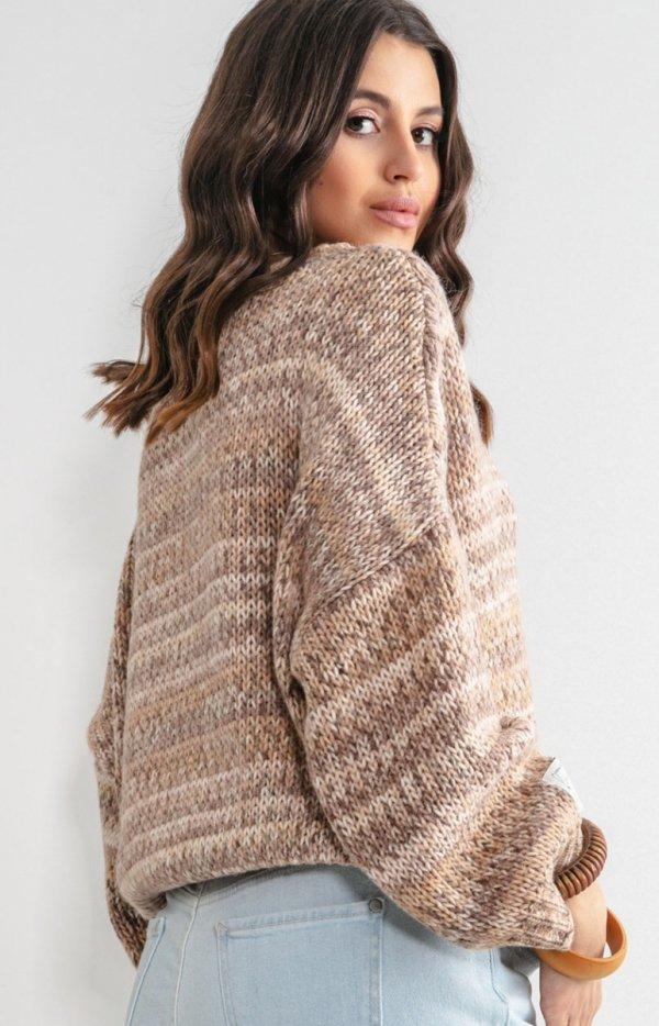Oversizowy sweter multikolor sand F1163 tył