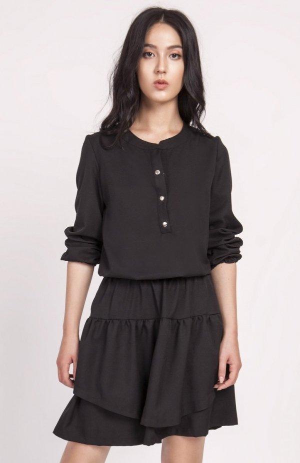 Sukienka z falbanką czarna SUK175