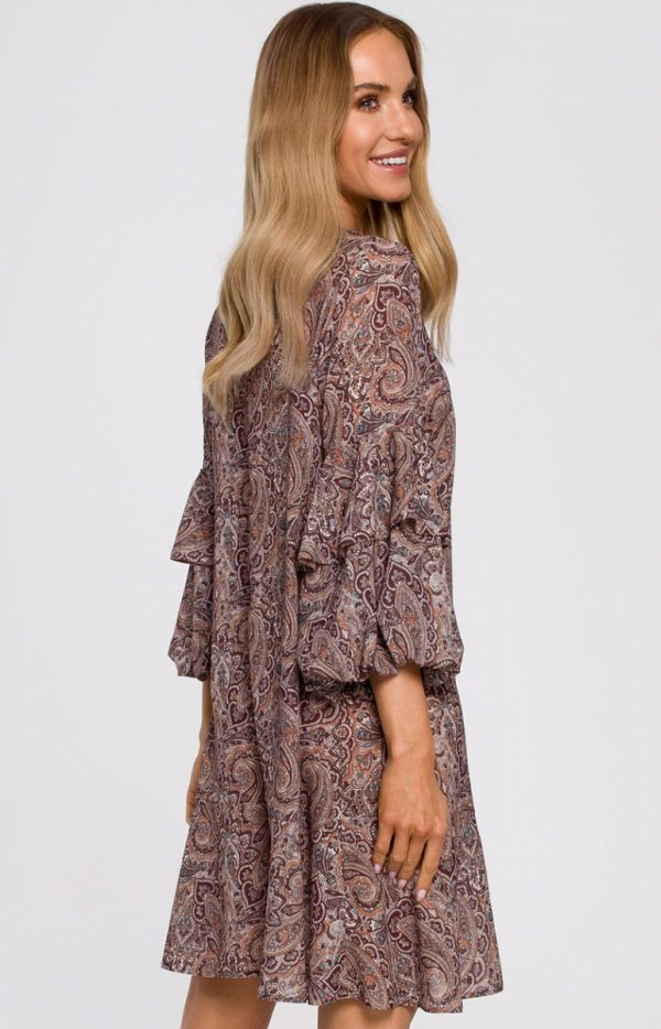 Oversizowa lekka sukienka M575/1 tył