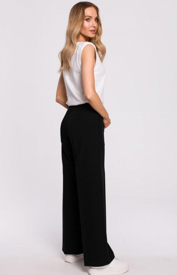Szerokie spodnie damskie plazzo czarne M570 tył
