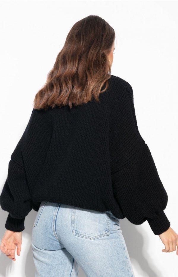 Oversizowy sweter z kaszmirem czarny F1110 tył