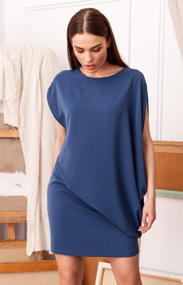 Elegancka sukienka mini warstwowa niebieska S262