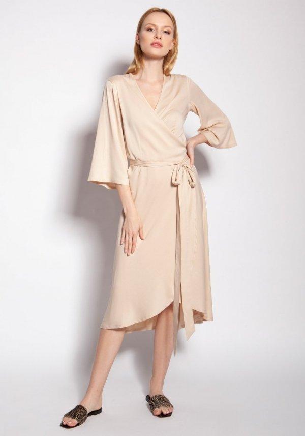 Sukienka kopertowa beżowa SUK185