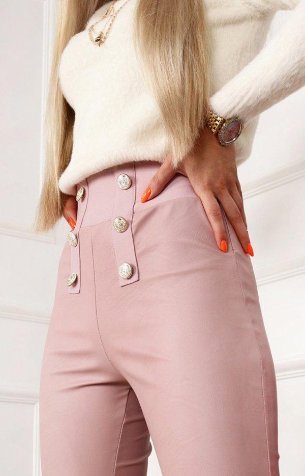 Różowe spodnie z miękkiej eko skórki-1