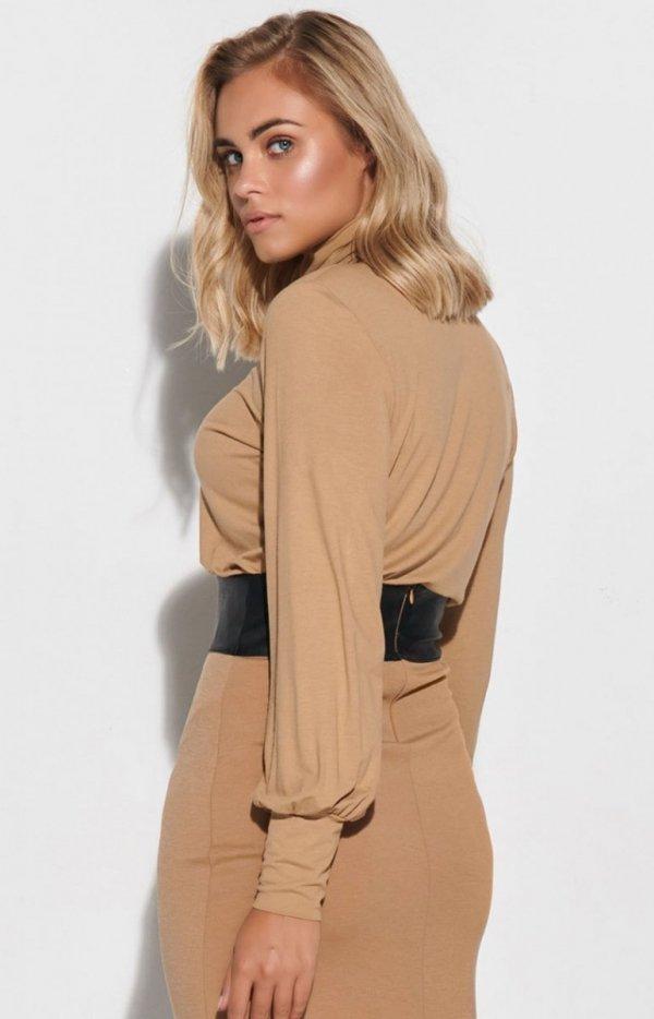 Beżowa bluzka damska Makadamia M593 tył