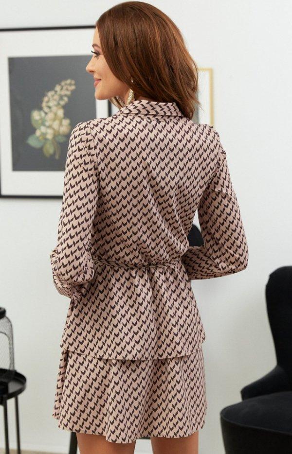 Modna sukienka mini z guziczkami przy dekolcie tył