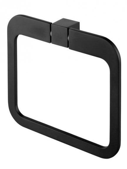Owalny wieszak łazienkowy Bisk Futura Black 02969 metalowy