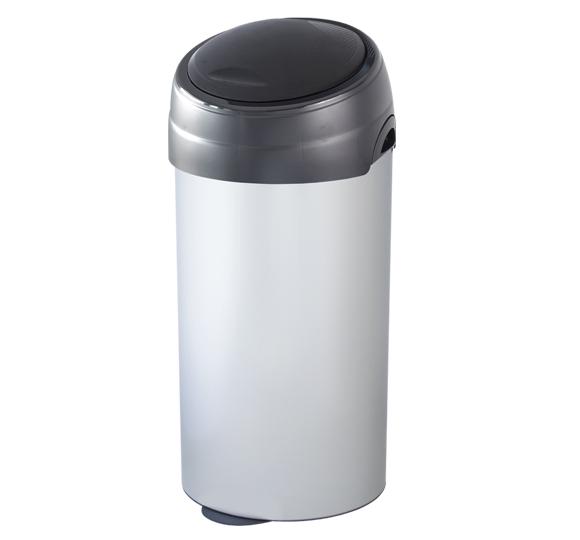 Metalowy kosz na śmieci SOFT TOUCH 60 litrów ze stali nierdzewnej z półautomatyczną pokrywą