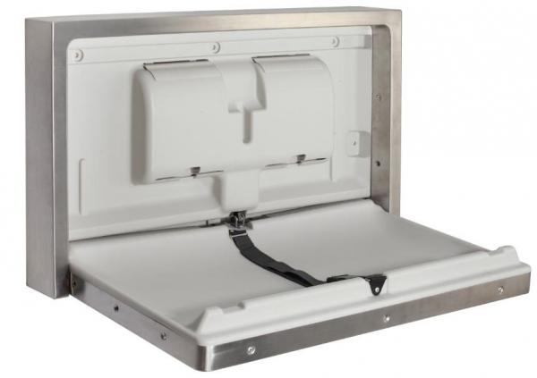 Przewijak ścienny ze stali - stanowisko do przewijania dzieci i niemowląt wnękowe Sanjo z obudową metalową, poziome, składane