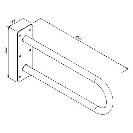 Poręcz stała łukowa dla niepełnosprawnych Faneco S32UUS6 SN M 60 cm stal nierdzewna