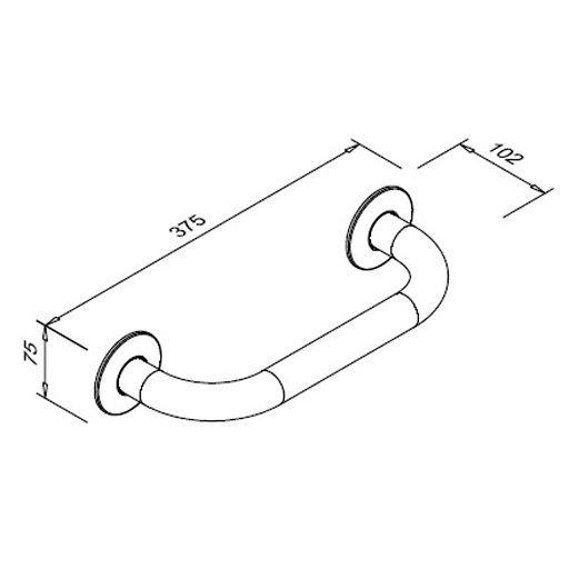 Poręcz prosta dla niepełnosprawnych Faneco S32UP3 SW B 30cm stal węglowa emaliowana