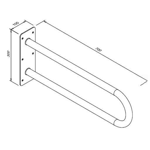 Poręcz stała łukowa dla niepełnosprawnych Faneco S32UUS7 SW B 70 cm stal węglowa emaliowana
