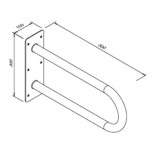 Poręcz stała łukowa dla niepełnosprawnych Faneco S32UUS5 SN M 50 cm stal nierdzewna