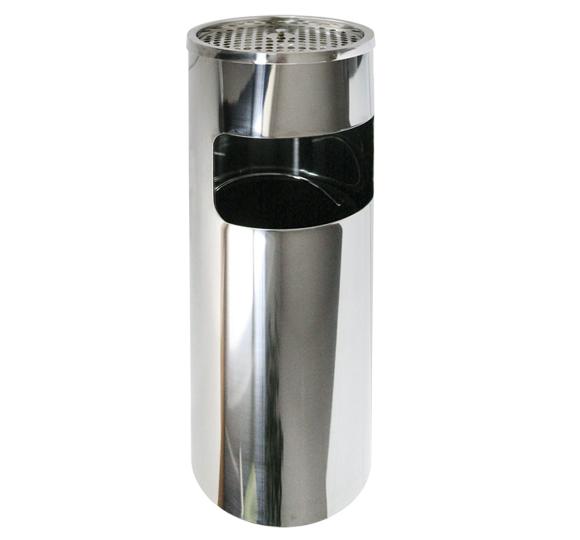 Metalowy kosz na śmieci KPP 17-I 60 cm z popielnicą wykonany ze stali nierdzewnej