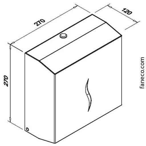 Pojemnik (podajnik) Faneco ZZ Hit (P600SGB) na ręczniki papierowe w listkach, ścienny, stal nierdzewna