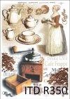 kawa, kawiarka, ziarna kawy, młynek do kawy, zastawa, imbryk, filiżanka, dzbanek, R350