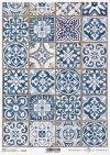 Papel de arroz vintage, azulejos azules*Vintage Reispapier, blaue Fliesen*Винтажная рисовая бумага, голубые плитки