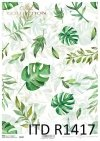 papier decoupage z liśćmi, zielone liście*decoupage paper with leaves, green leaves