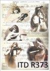 retro, vintage, muzyka, nuty, muzykantki, kobiety, instrumenty muzyczne, harfa, pianino, skrzypce, mandolina, skrzypaczka, gra na instrumencie, R373