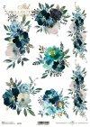 Niebieskie kwiaty, dekor z kwiatów, szlaczek, ozdobnik, bukiet, kompozycja kwiatowa