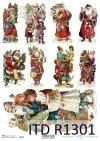 Papier decoupage świąteczny-Mikołaje*Paper Christmas-Santa Claus*Papel de Navidad-Santa Claus*Бумага Рождество-Санта-Клаус*Papier Weihnachten-Weihnachtsmann
