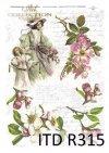 kobieta, sukienka, kapelusz, sukienka, retro, wiosna, kwiaty, kwiat, ręczne pismo, R315