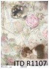 Papier decoupage kwiaty, Vintage*Paper decoupage flowers, Vintage